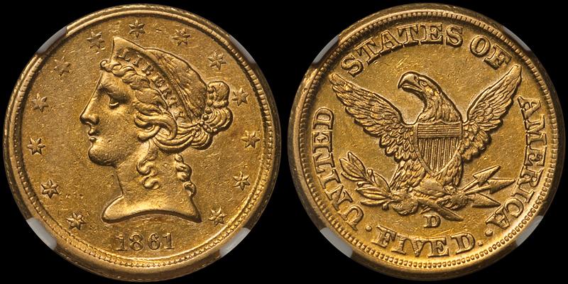 1861-D $5.00 NGC AU58 CAC