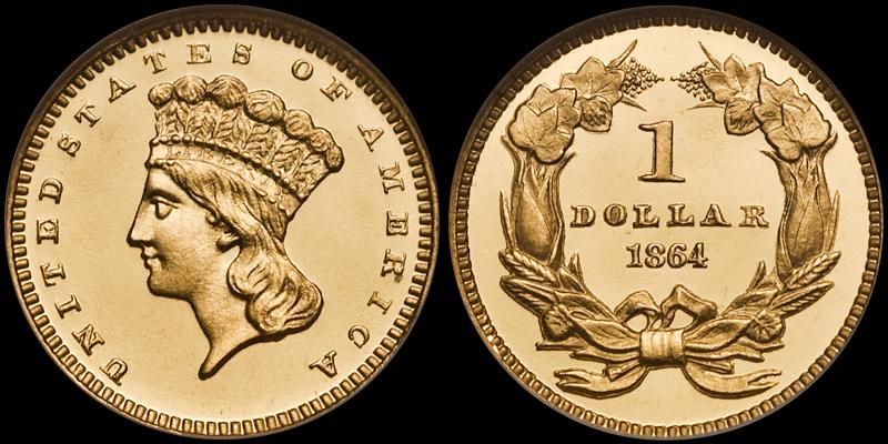 1864 $1.00 NGC PR66 Ultra Cameo