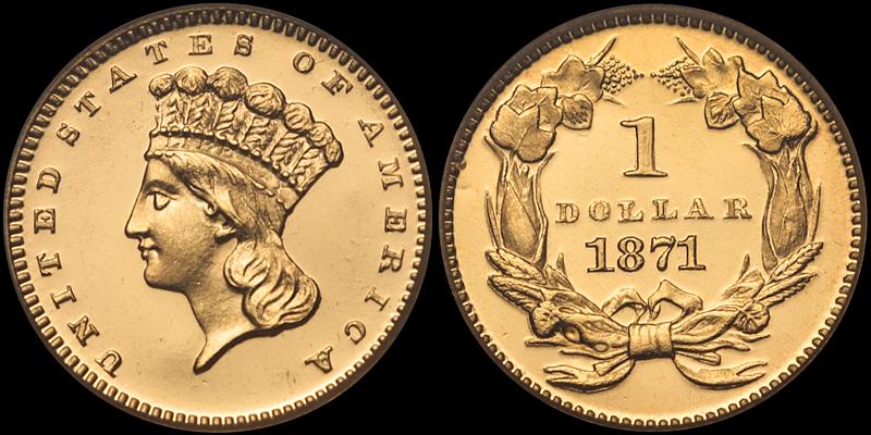 1871 $1.00 PCGS PR65 Deep Cameo CAC