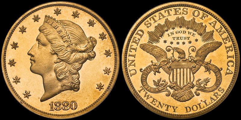 1880 $20.00 NGC PR63 Cameo CAC