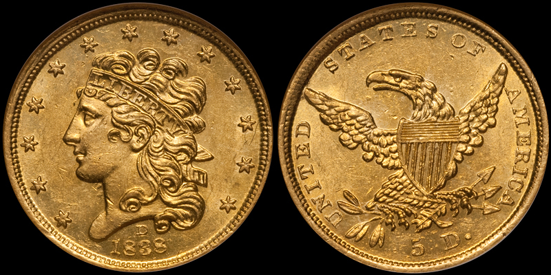 1838-D $5.00 NGC MS62