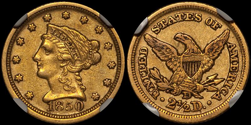 1850-D $2.50 NGC AU53