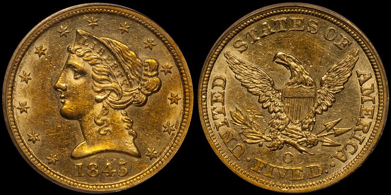 1845-O $5.00 PCGS AU55 CAC
