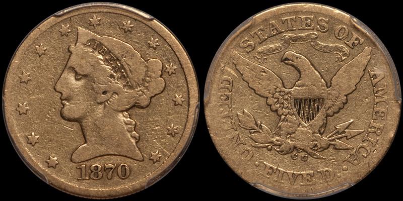 1870-CC $5.00 PCGS G6