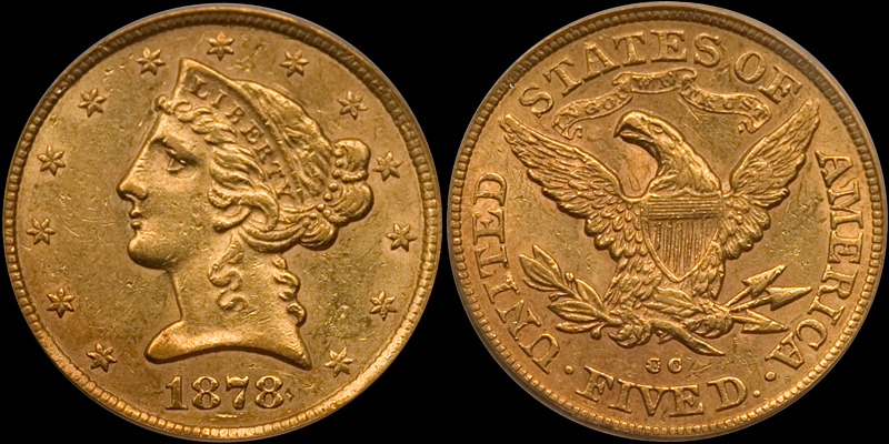 1878-CC $5.00 PCGS AU58
