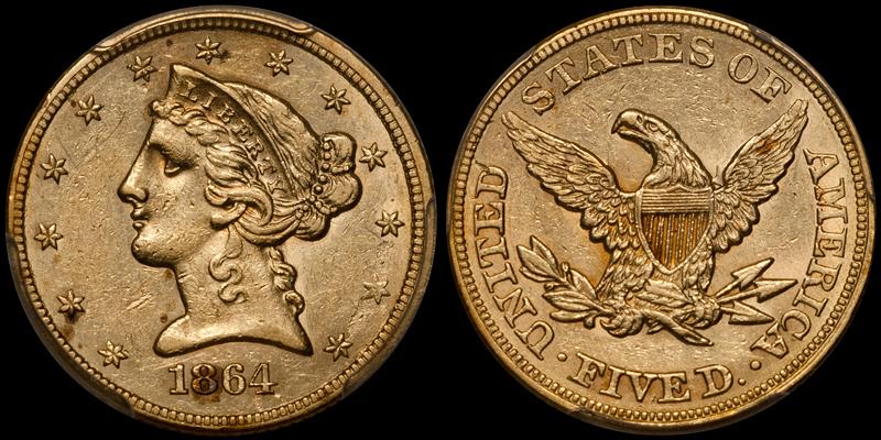 1864 $5.00 PCGS AU55