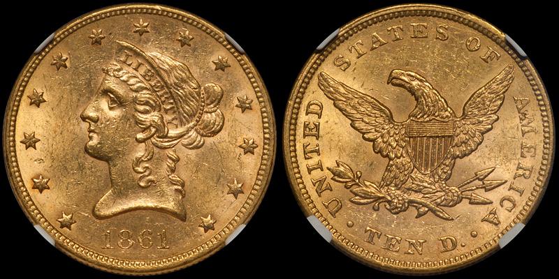 1861 $10.00 NGC MS62 CAC