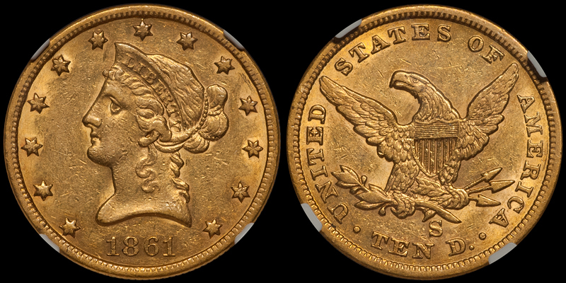 1861-S $10.00 NGC AU53 CAC