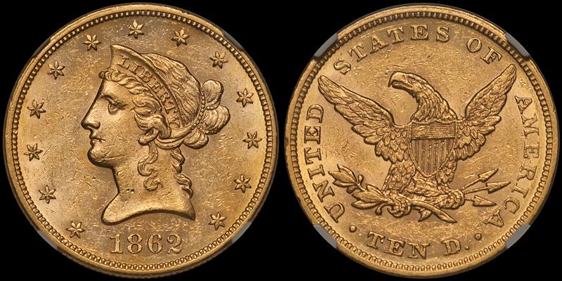 1862 $10.00 NGC MS60