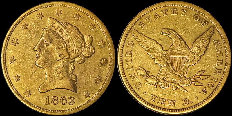 1863 $10.00 NGC AU50