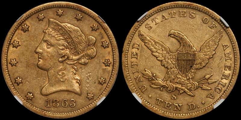 1863-S $10.00 NGC AU53