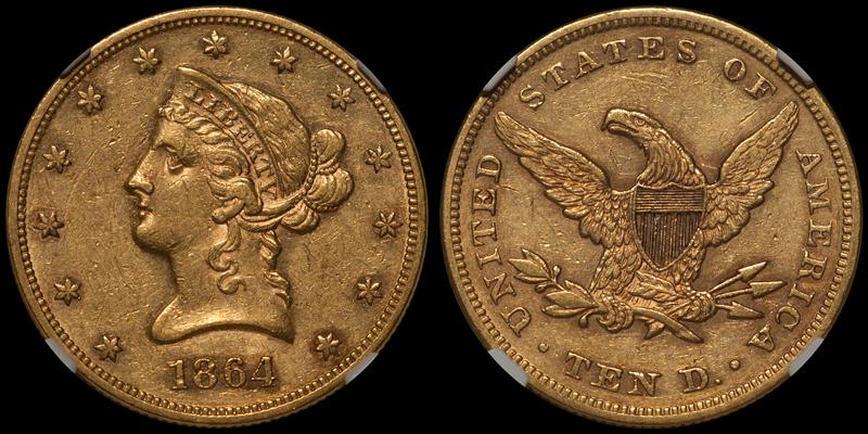 1864 $10.00 NGC AU53