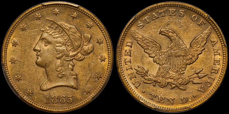 1865 $10.00 PCGS AU55