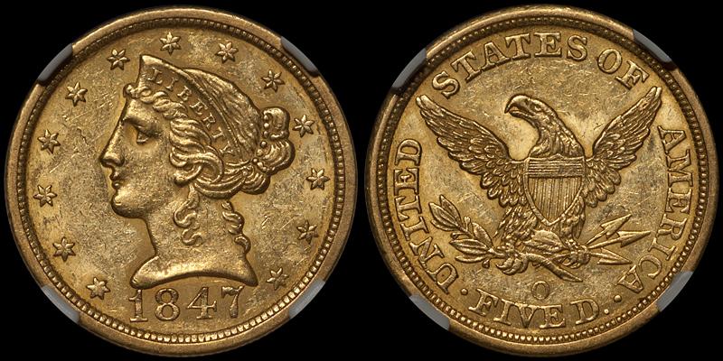 1847-O $5.00 NGC MS60