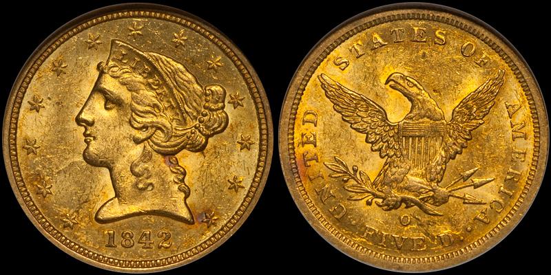 1842-O $5.00 NGC MS63 CAC