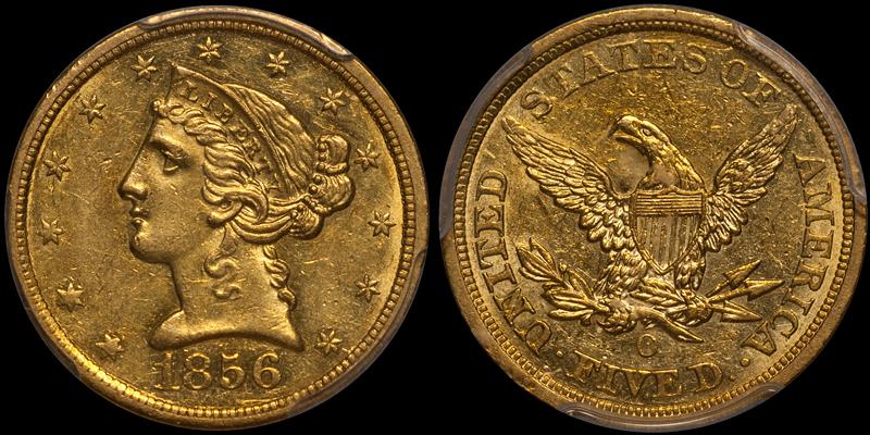 1856-O $5.00 PCGS AU58