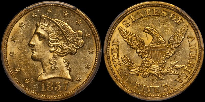 1857-O $5.00 PCGS MS62 CAC