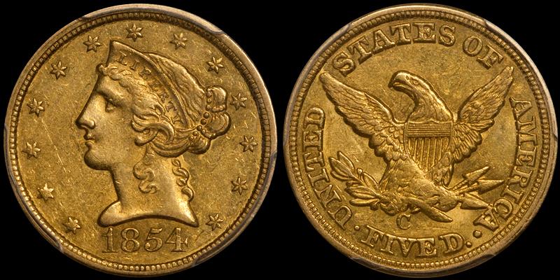 1854-C $5.00 PCGS AU58