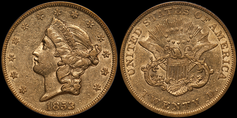 1853/2 $20.00 PCGS AU50 CAC