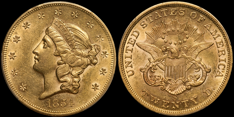 1854-S $20.00 PCGS AU58