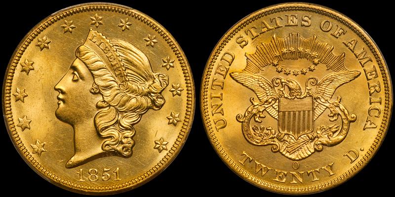 1851-O $20.00 PCGS MS63