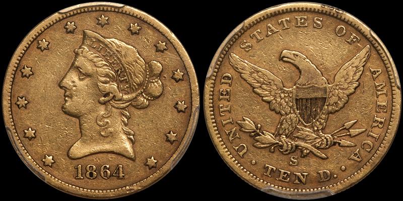 1864-S $10.00 PCGS VF30 CAC