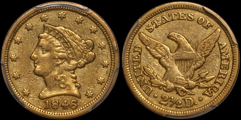 1846-C $2.50 PCGS EF40 CAC