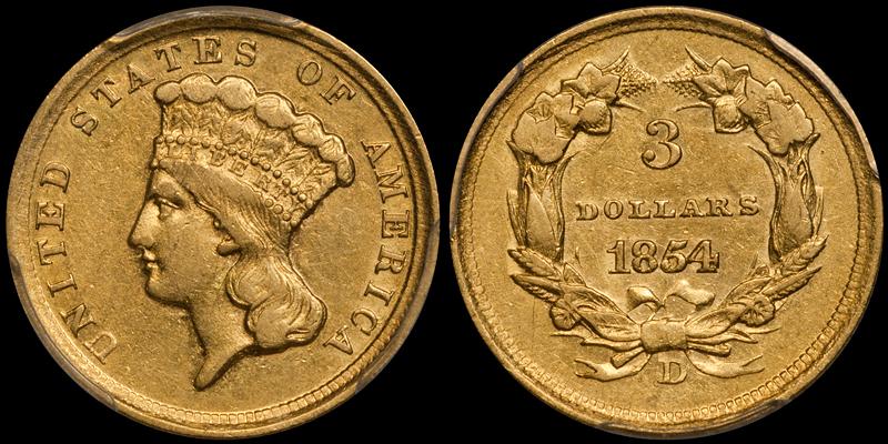1854-D $3.00 PCGS AU50 CAC