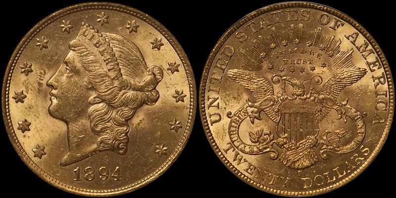 1894-S $20.00 PCGS MS62