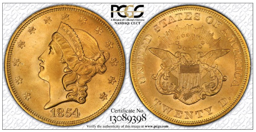 1854 Small Date MS65, courtesy of PCGS