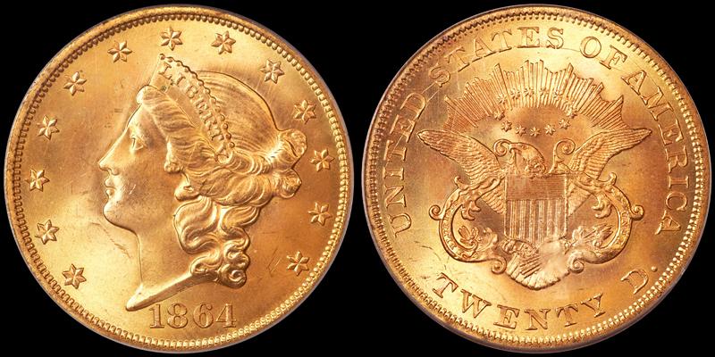 1864 $20.00, PCGS MS65