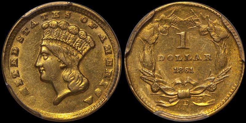 1861-D $1.00 PCGS MS61