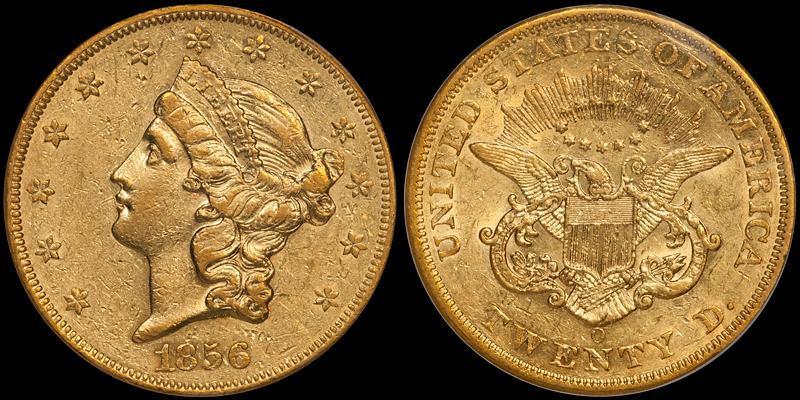 1856-O $20.00 PCGS AU55