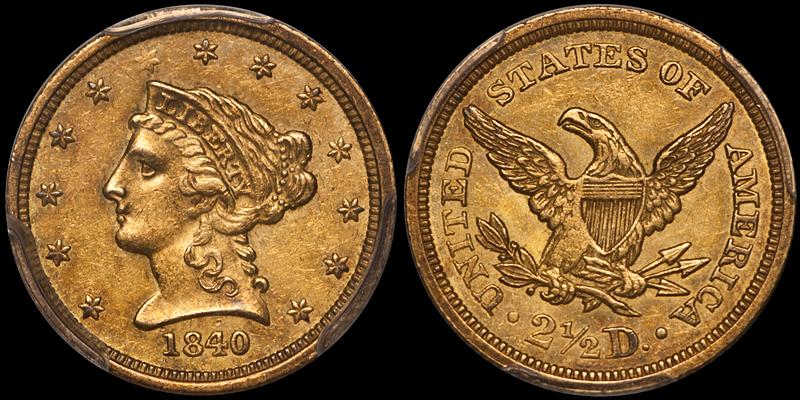 1840 $2.50 PCGS AU58 CAC