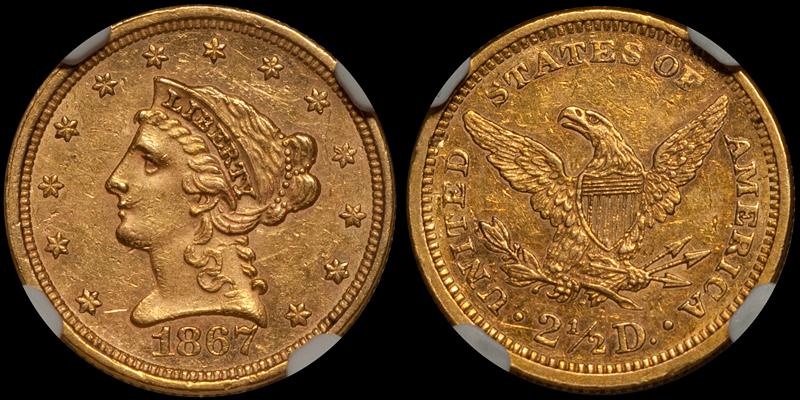 1867 $2.50 NGC MS61