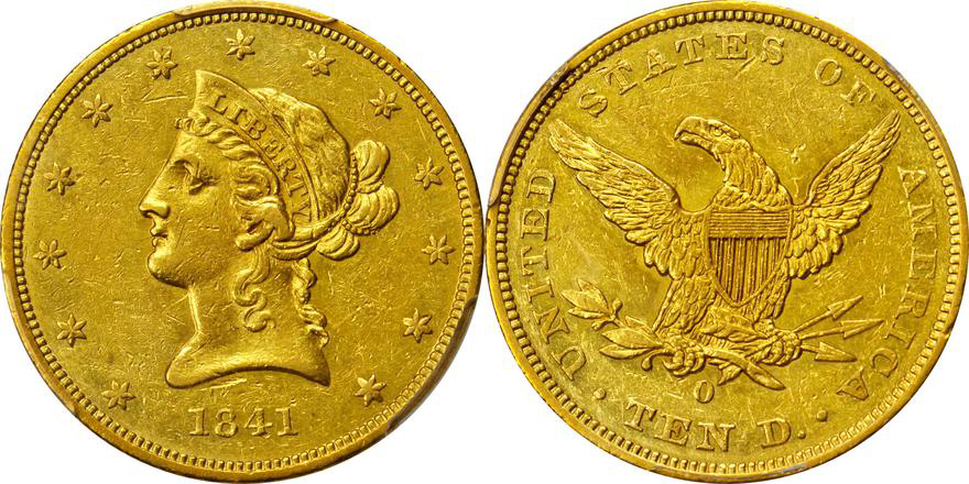 1841-O PCGS AU55, Lot 2150, courtesy of Stack's Bowers