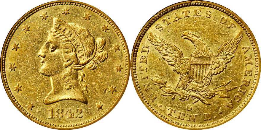 1842-O NGC AU58, Lot 2151, courtesy of Stack's Bowers