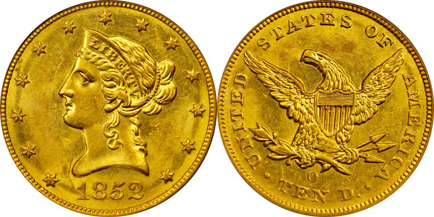 1852-O PCGS MS60, Lot 2153, courtesy of Stack's Bowers