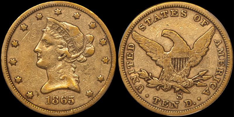 1865-S $10.00 PCGS VF25