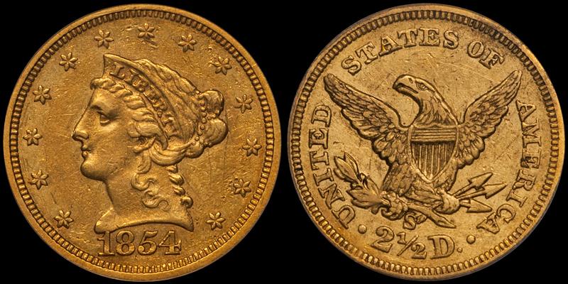 1854-S $2.50 PCGS VF35