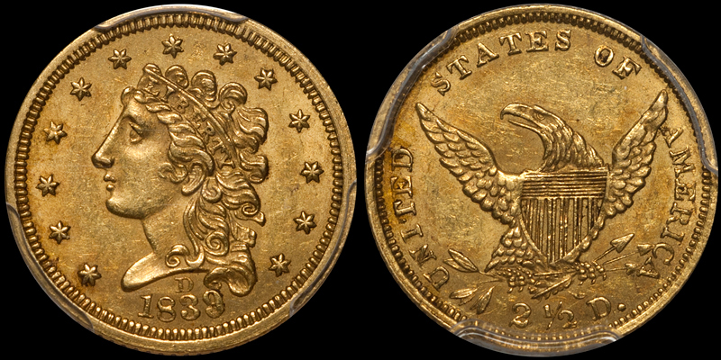 1839-D $2.50 PCGS MS62 CAC