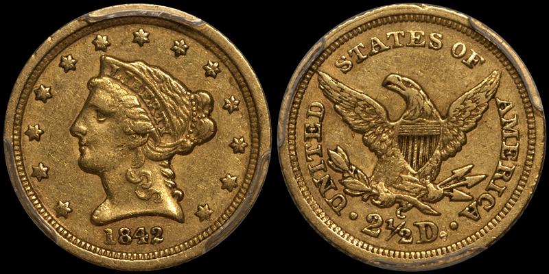 1842-C $2.50 PCGS EF45 CAC
