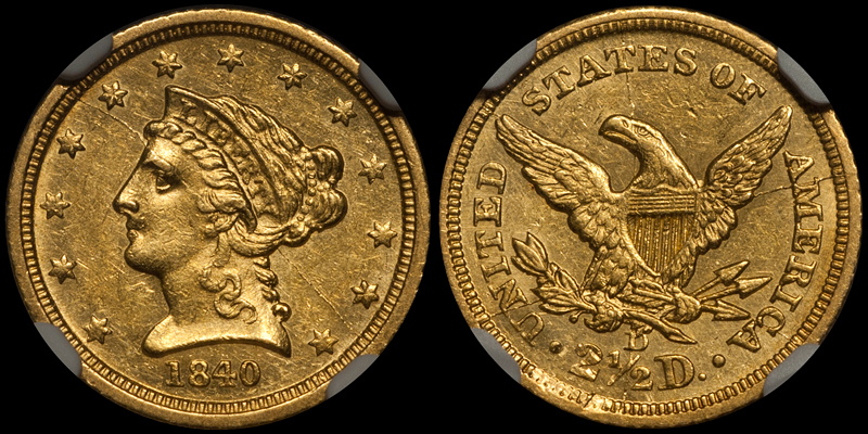 1840-D $2.50 NGC MS60