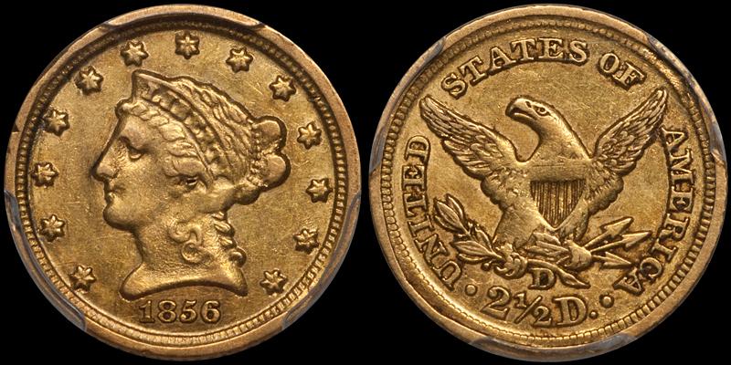 1856-D $2.50 PCGS EF45