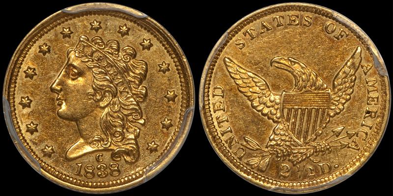 1838-C $2.50 PCGS AU58 CAC
