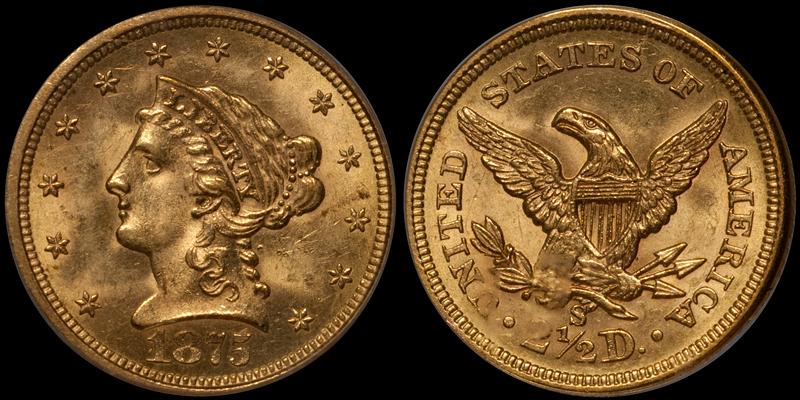 1875-S $2.50 PCGS MS63 CAC