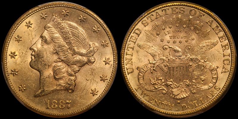 1887-S $20.00 PCGS MS62 CAC