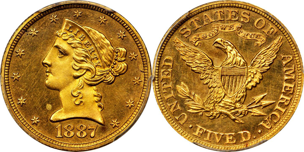1887 $5.00 PCGS PR64+ CAC, image courtesy of Stacks Bowers