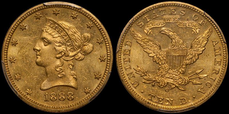 1888-O $10.00 PCGS MS63