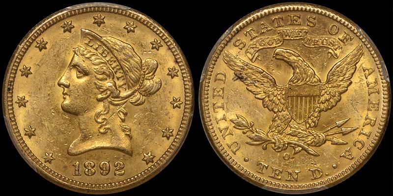 1892-O $10.00 PCGS MS62+ CAC